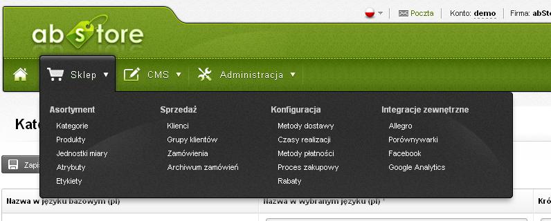 abStore - przyjazny panel administracyjny