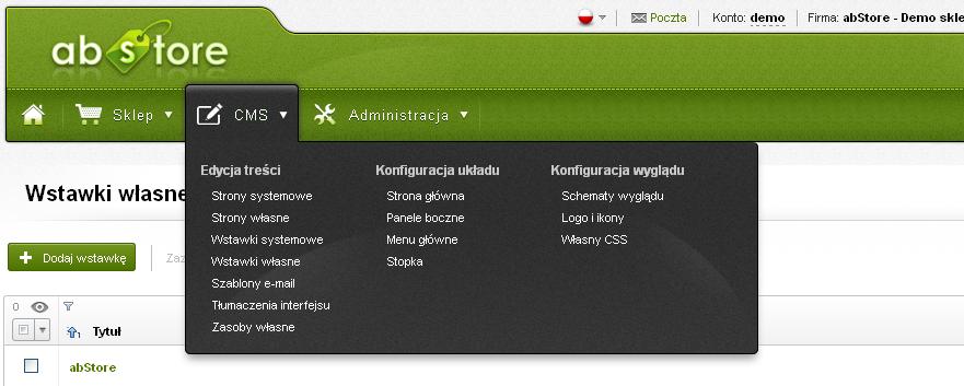 abStore - prosty Panel administracyjny