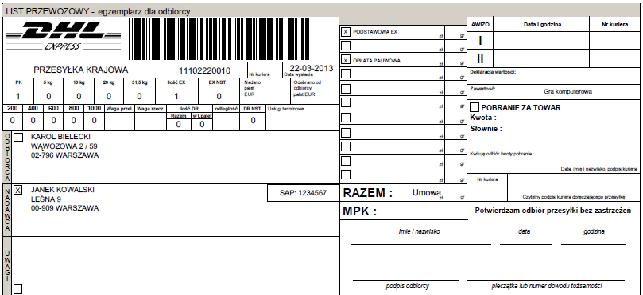 DHL WF-MAG - wygenerowany list przewozowy