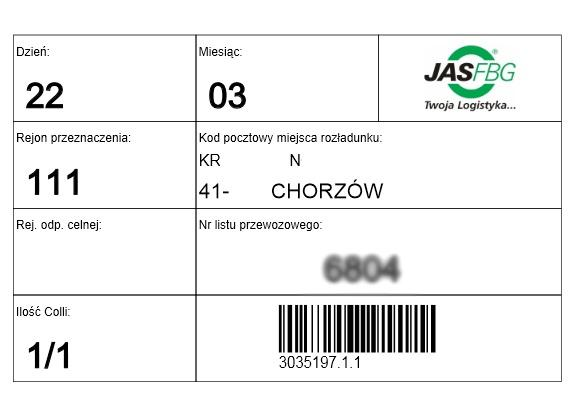 JAS-FBG - etykieta