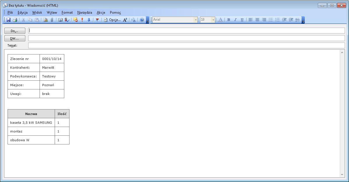Kompozycja wiadomości e-mail
