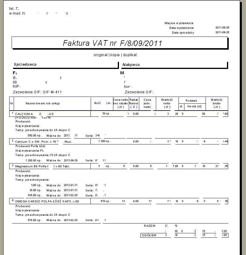 Moduł obsługi farmacji - Przykładowa faktura