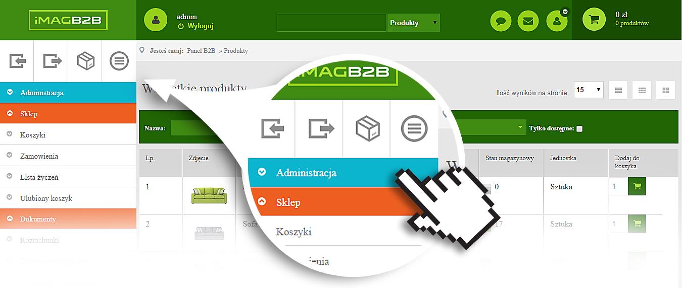 IMAG B2B - Przełączanie funkcji
