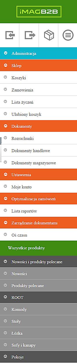 IMAG B2B - Pasek funkcji po lewej stronie menu