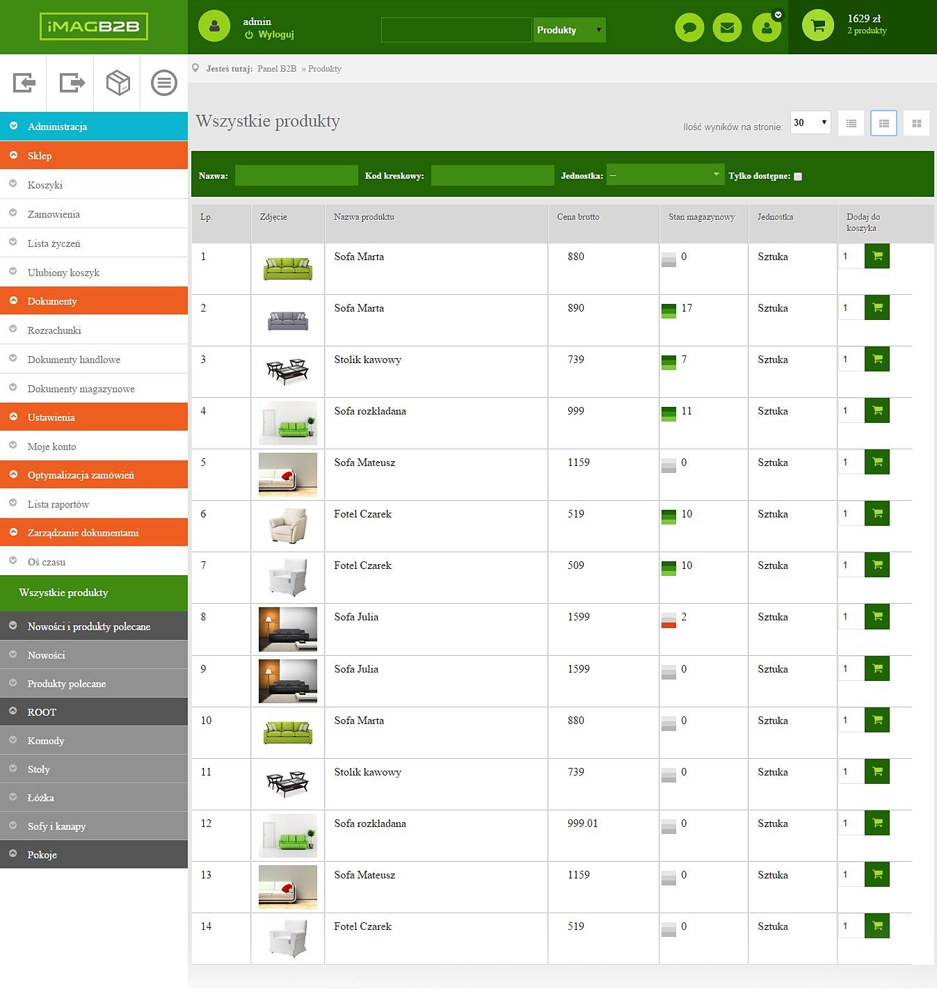 IMAG B2B - Lista produktów ze zdjęciem