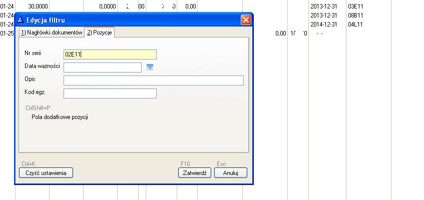 Moduł obsługi farmacji - filtrowanie wg numeru serii