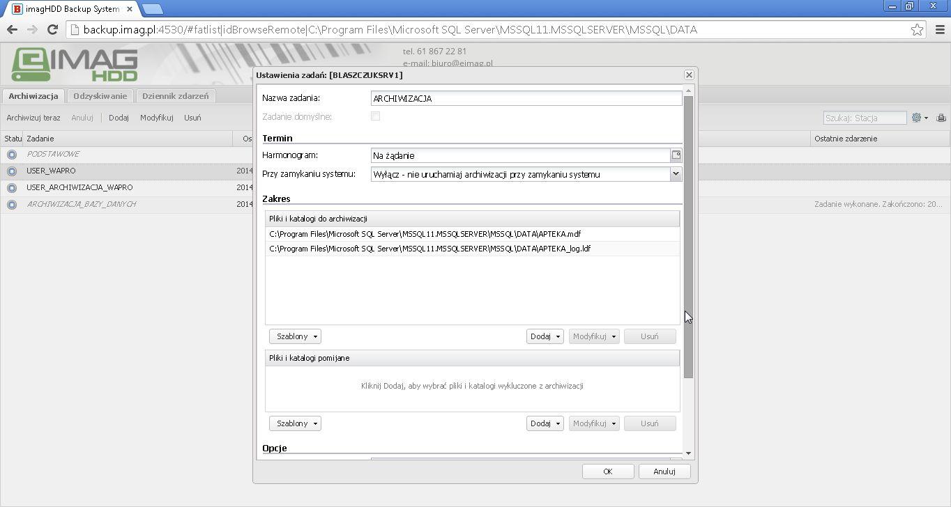 Konfiguracja archiwizacji