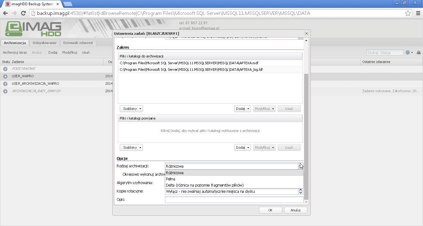 onfiguracja archiwizacji c.d.