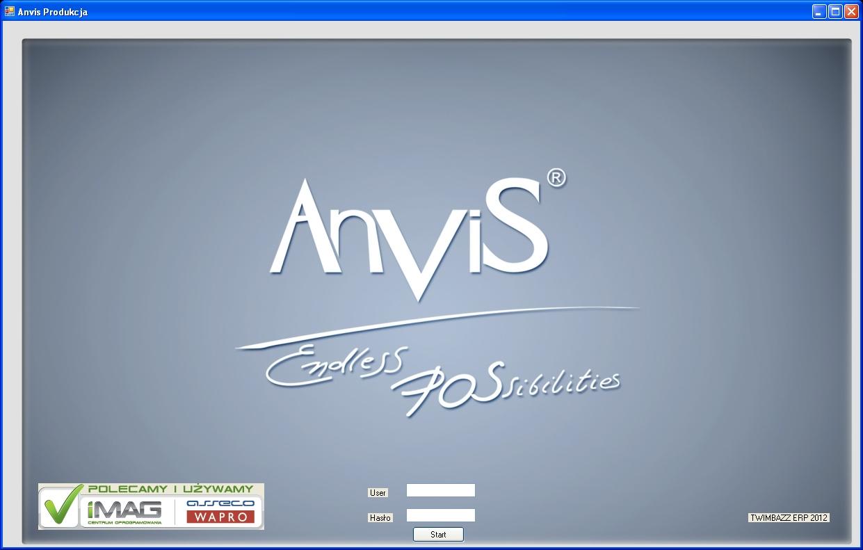 Moduł Planowania Produkcji Anvis - Logowanie